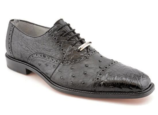 Belvedere Onesto II Genuine Crocodile/Ostrich Tie Men's Oxford