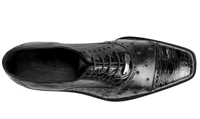 Belvedere Onesto II Mens Dress Shoe in Black top view