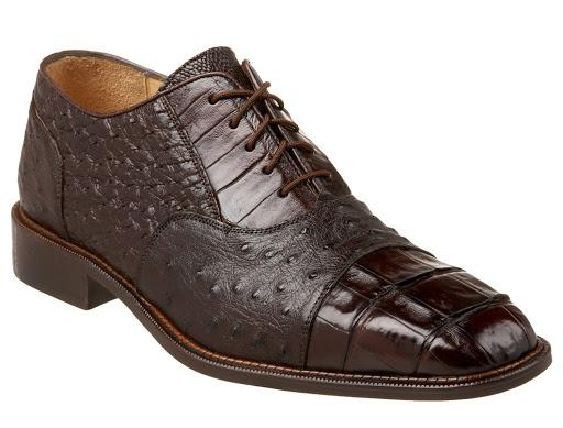 Belvedere Onesto II Genuine Crocodile/Ostrich Men's Oxford in Brown