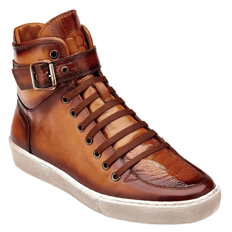 Belvedere Taylor Genuine Ostrich and Soft Calf Leather Men's High-top Sneaker in Antique Almond