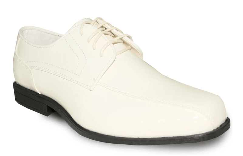 Bravo Jean Yves JY02 Fashion Double Runner Tuxedo Style Men's Dress Shoe in Ivory Patent