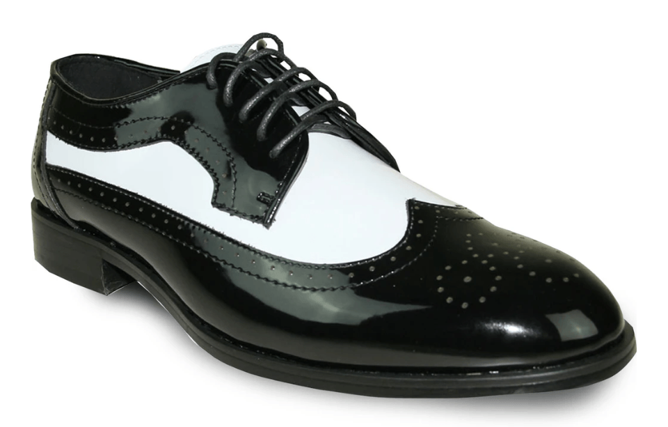 Bravo Jean Yves JY03 Men's Classic Wing Tip Style Tuxedo Lace Up Dress Shoe in Black and White Patent