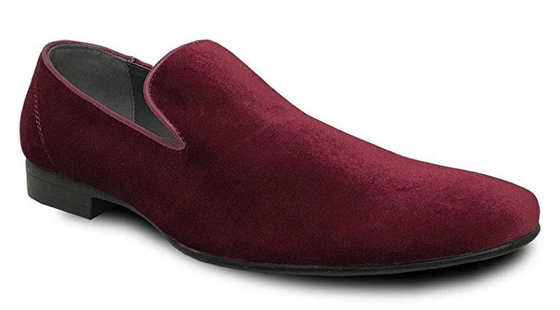 Bravo Klein-7 Men's Velvet Loafer in Burgundy Red Velvet