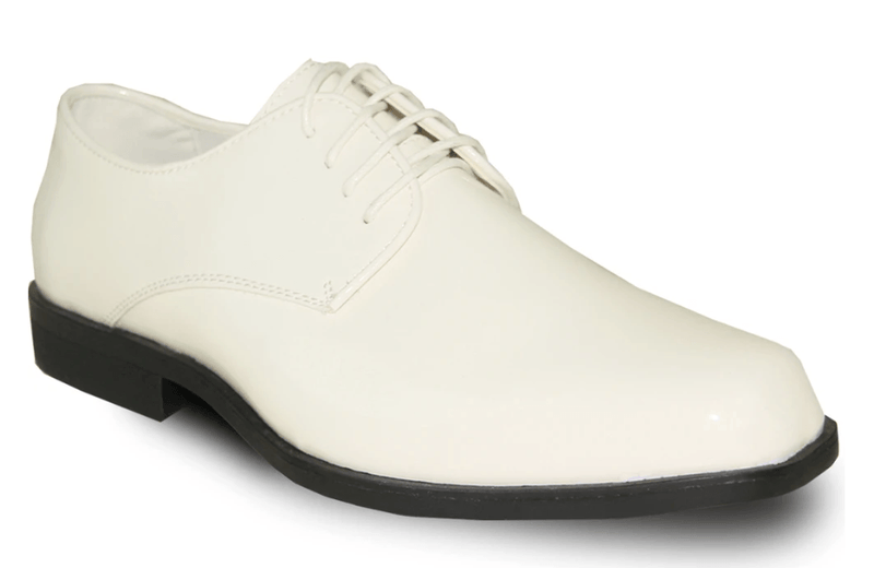 Bravo Tux 1 Men's Formal Lace-up Dress Oxford Shoe in Ivory Patent.
