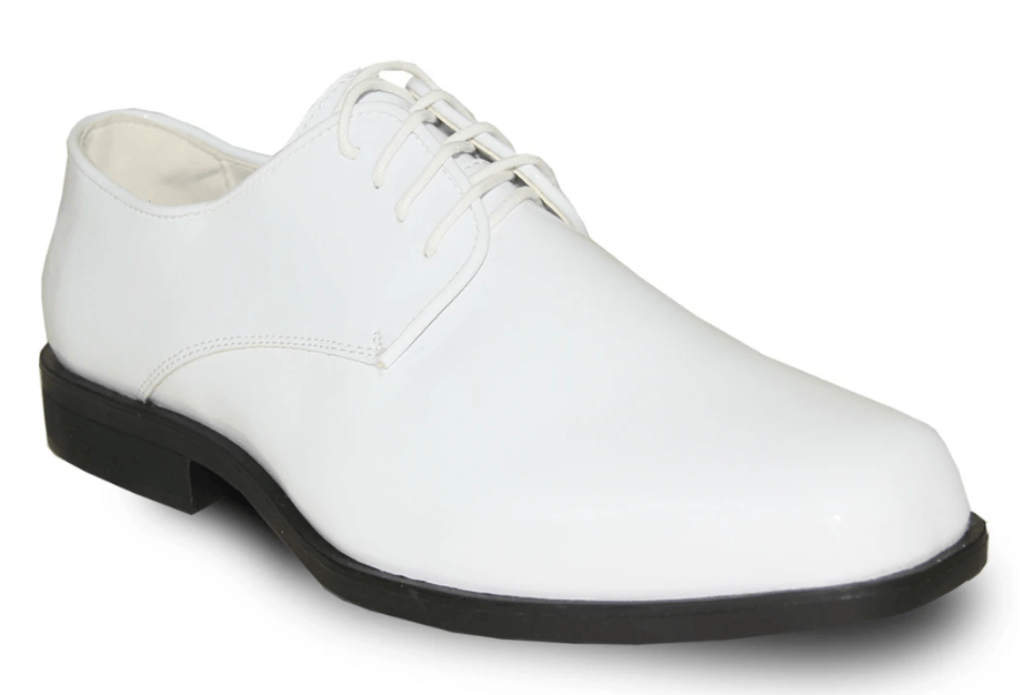 Bravo Tux 1 Men's Formal Lace-up, Square Toe Oxford Shoe in White Patent.