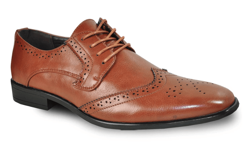 Bravo King-2 Men's Dress Wingtip Oxford in Brown
