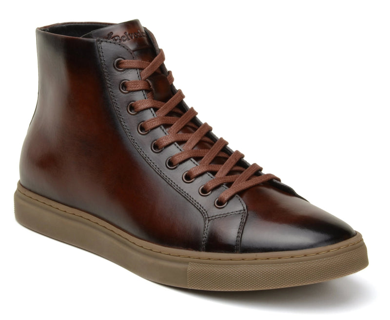 Belvedere David Genuine Calf Leather Men's High Top Sneaker in Antique Cognac