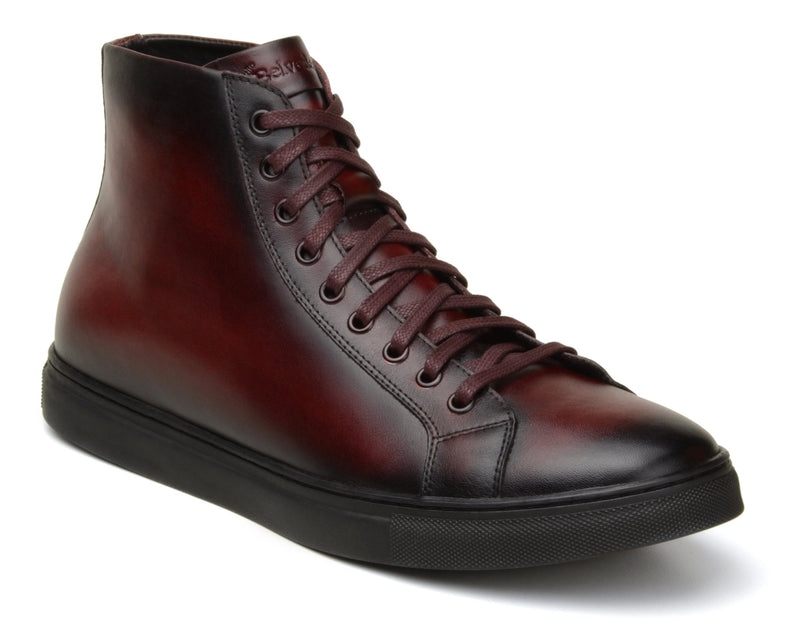 Belvedere David Genuine Calf Leather Men's High Top Sneaker in Antique Burgundy