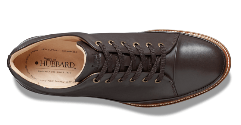 Dressfast Men's Casual Shoe in Brown Leather - top view