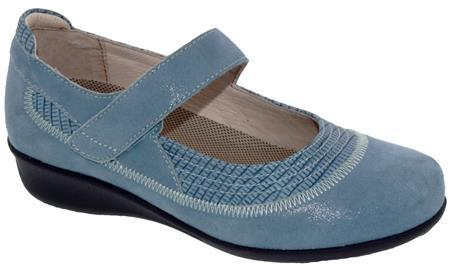 The Drew Genoa Velcro Strap Mary-Jane Style Suede Leather Women's Shoe in Blue Microdot