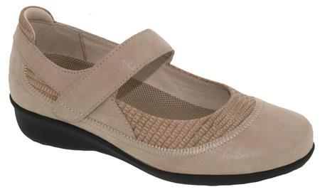 The Drew Genoa Velcro Strap Mary-Jane Style Suede Leather Women's Shoe in Taupe