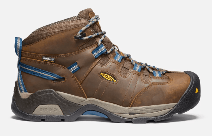 Keen Detroit Steel Toe Waterproof Men's Boot in Brown and Orion Blue