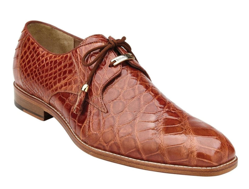 Belvedere Lago Genuine Alligator Men's Shoe in Cognac