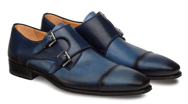 Mezlan Bardem Double Monk Strap Men's Loafer in Electric Blue