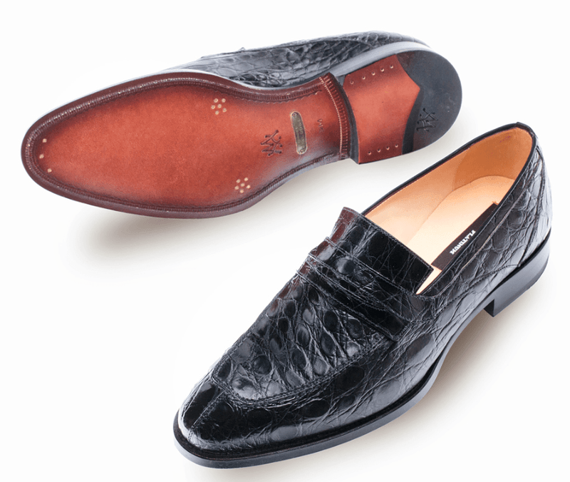 Mezlan Bixby Men's Exotic Penny Loafers in Black