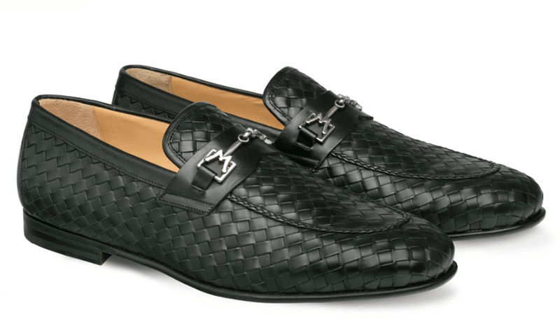 Mezlan Cerros Woven Apron Toe Men's Horsebit Loafer in Black