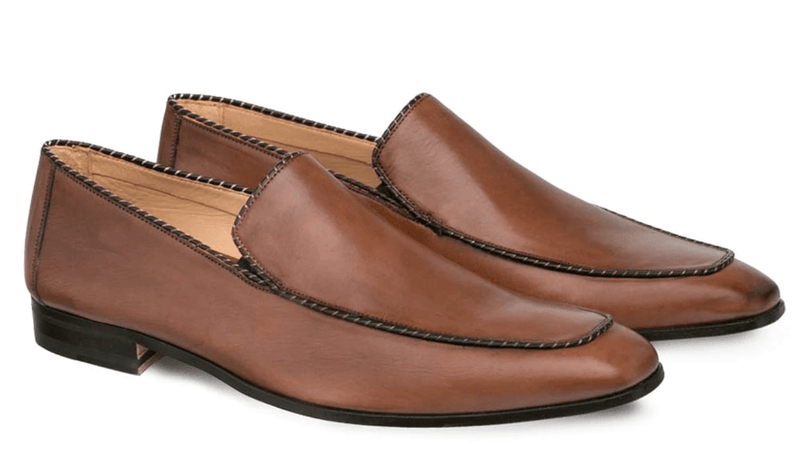 Mezlan Brandt Lightweight Italian Calfskin Piped Venetian Dress Slip On Loafer in Cognac