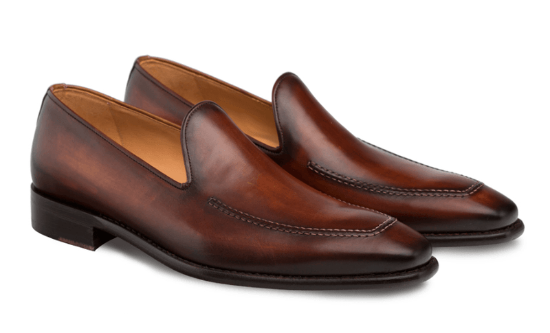 Mezlan Curtana Antiqued European Calfskin Men's Slip On Loafer in Cognac