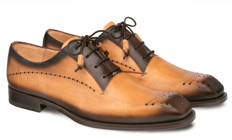 Mezlan Entourage Men's Calfskin Bal Oxford in Mustard and Brown