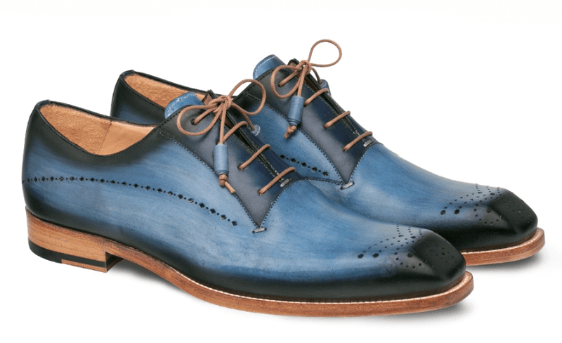Mezlan Entourage Men's Calfskin Plain Toe Bal Oxford in Electric Blue and Navy