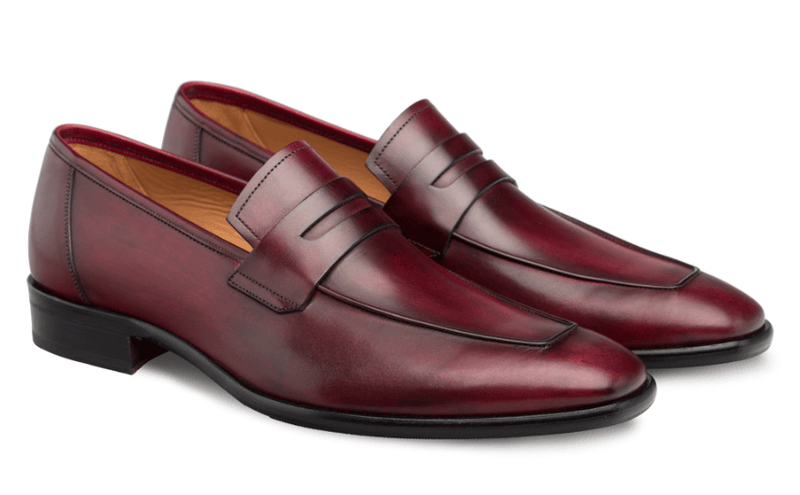 Mezlan Newport European Calfskin Penny Loafers in Burgundy