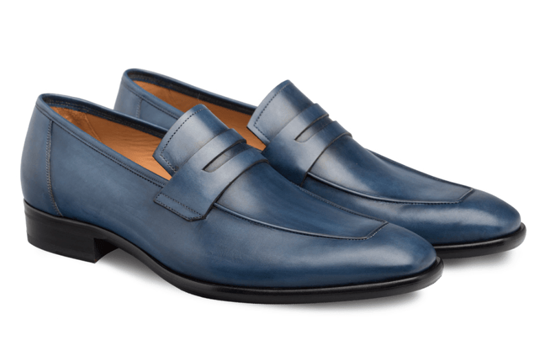 Mezlan Newport Men's Calfskin Penny Loafer in Medium Blue