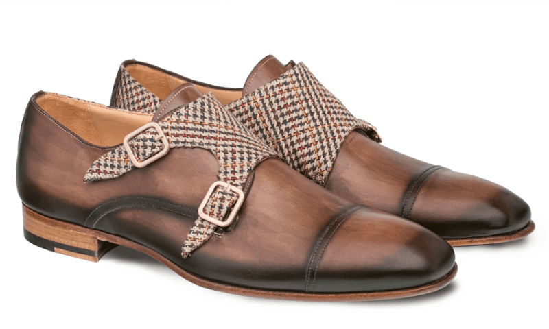 Mezlan Pandora Men's Double Monk Strap Cap Toe Dress Loafer in Taupe/Brown