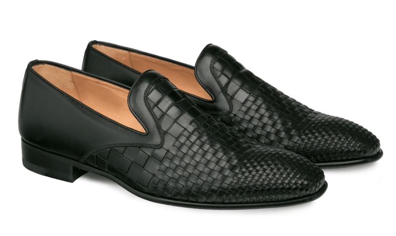 Mezlan Sirocco Woven Calfskin Men's Slip On Dress Shoe in Black