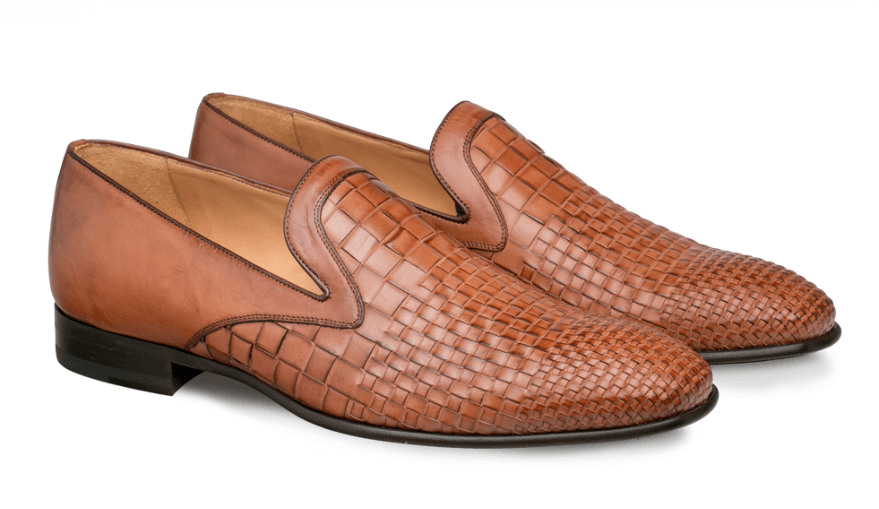 Mezlan Sirocco Woven Calfskin Men's Slip On Dress Shoe in Cognac