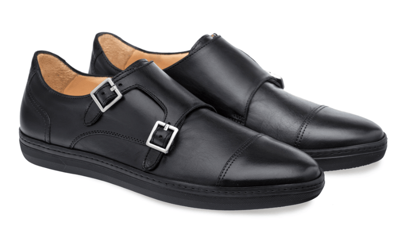 Mezlan Vicenza Double Monk Strap Men's Sneaker in Black