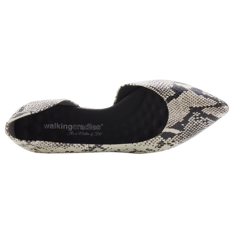 Walking Cradle Raya Bone & Black Snake Print Leather