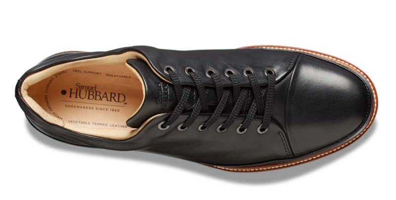 Samuel Hubbard Dressfast in Black Leather - top of shoe