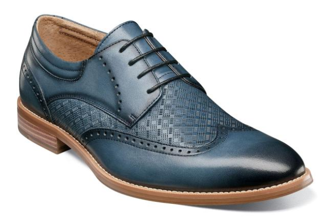 Stacy Adams Fallon Men's Wingtip Oxford Shoe in Blue Leather