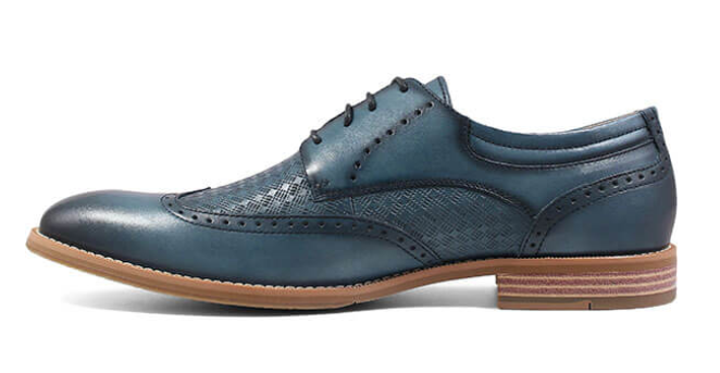 Stacy Adams Fallon Wingtip Oxford in Blue Leather