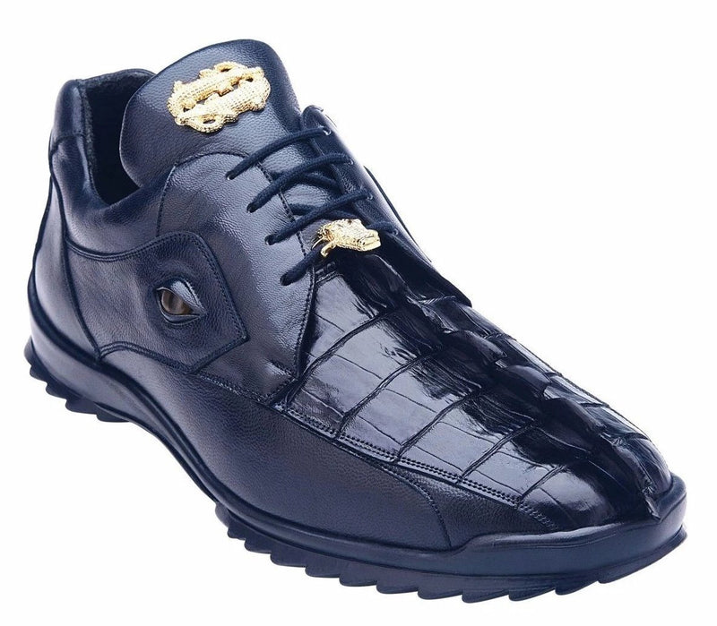 Belvedere Vasco Genuine Hornback Crocodile and Calf Skin Men's Sneaker in Night Blue