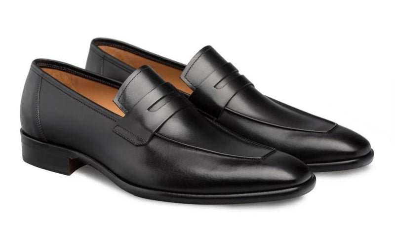 Mezlan Newport Hand-Burnished European Calfskin Men's Slip On Penny Loafer in Black
