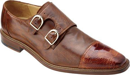 Belvedere Amico Genuine Ostrich and Italian Calf leather Slip-on double monk strap men's shoe in Brandy/Antique Brown