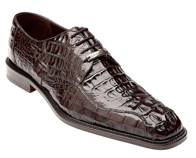 Belvedere Chapo Genuine Hornback Crocodile Men's Dress Shoe in brown