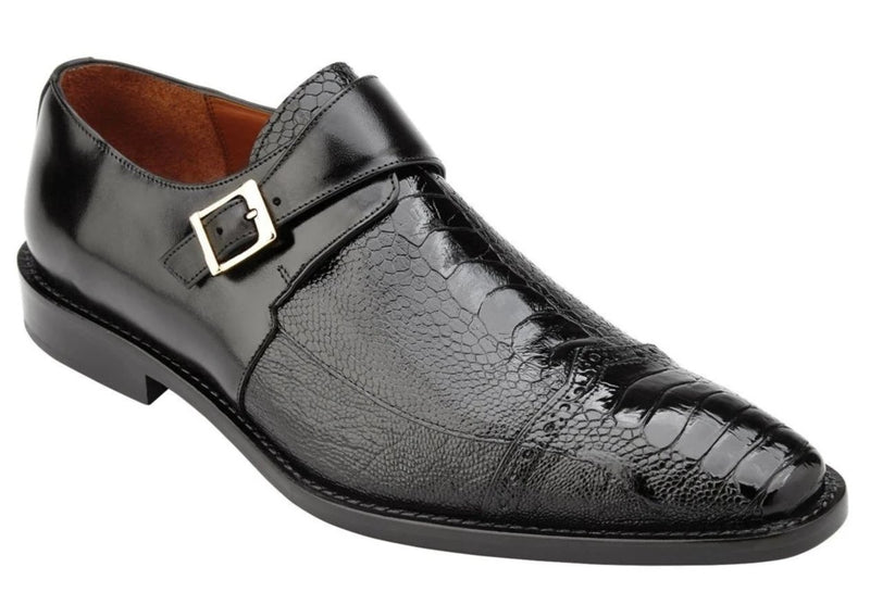 Belvedere Salinas Monk Strap Men's Ostrich and Italian Calf Loafer in Black