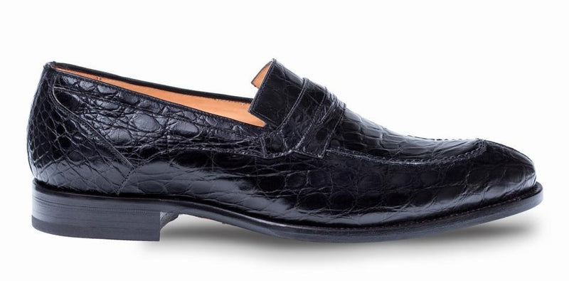 Mezlan Bixby Crocodile Men's Penny Loafer in Black