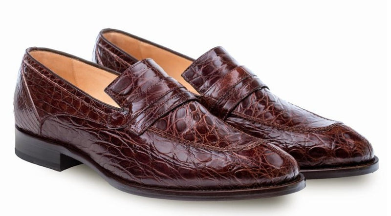 Mezlan Bixby Genuine Crocodile Men's Dress Penny Loafers in Brown