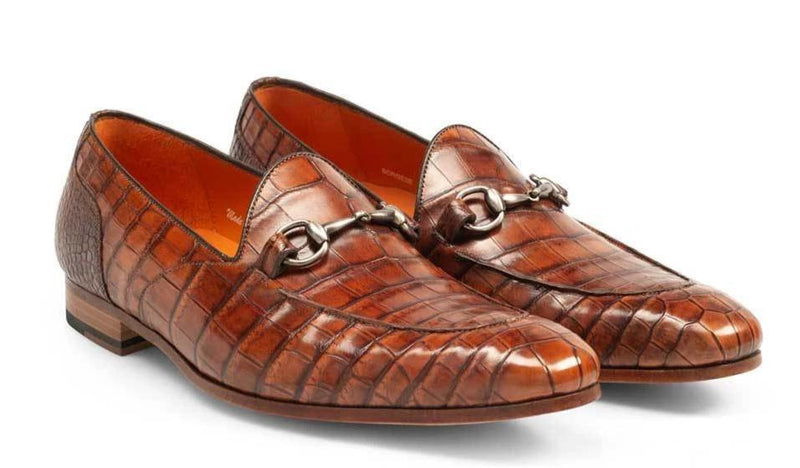 Mezlan Borgese Genuine Alligator Men's Slip On Dress Loafer in Gold.