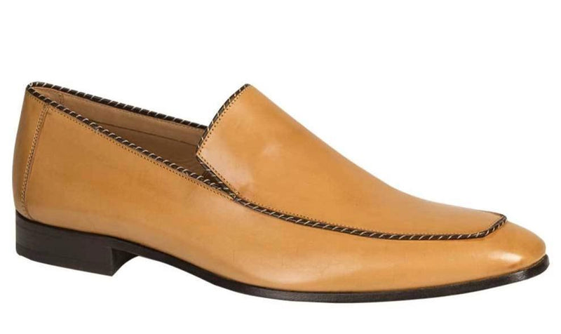 Mezlan Brandt Lightweight Italian Calfskin Piped Venetian Dress Slip On Loafer in Camel