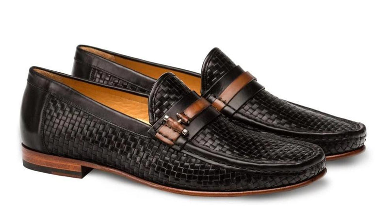 Mezlan Banderas Woven Two Tone Calfskin Men's Dress Moccasins in Black