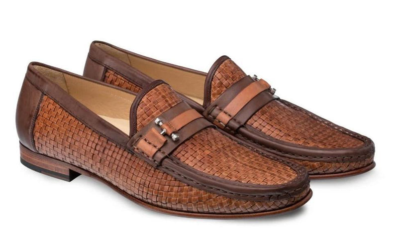 Mezlan Banderas Woven Two Tone Calfskin Men's Dress Moccasins in Brown