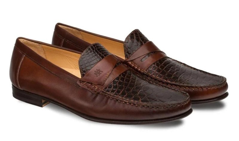 Mezlan Sica Classic Exotic Men's Dress Penny Moccasin in Brown