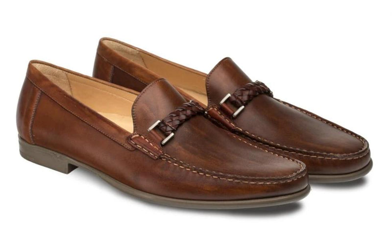 Mezlan Dorelli Hand-Stitched and Burnished European Calfskin Men's Apron Toe Moccasin in Cognac