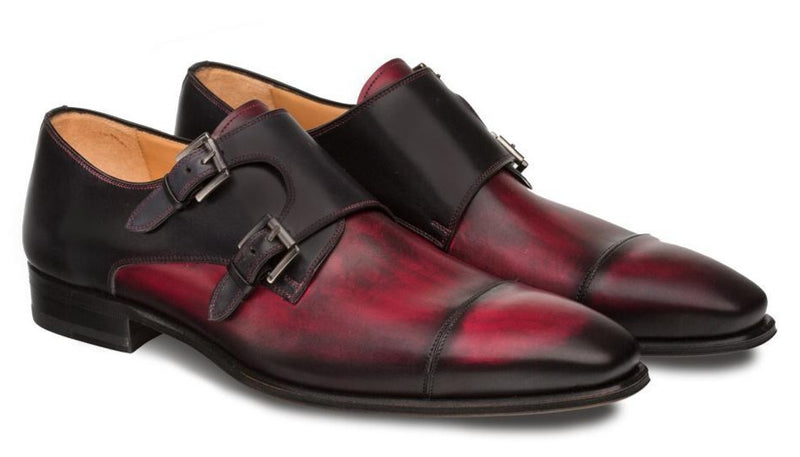 Mezlan Bardem Double Monk Strap Men's Loafer in Burgundy and Black