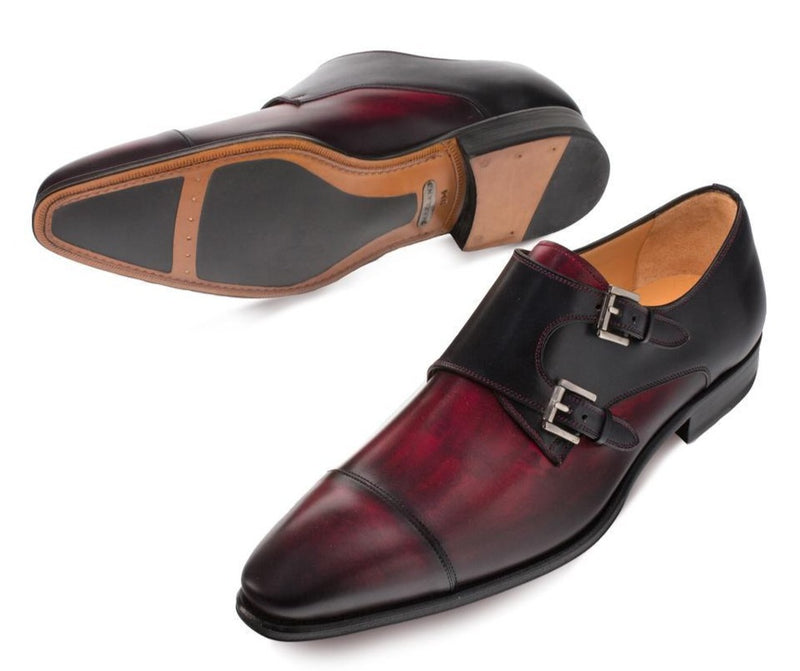 Mezlan Bardem men's dress loafer in burgundy and black