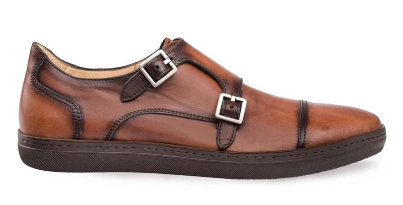 Mezlan Vecenza Dress-Casual Double Monk Strap Men's Sneaker in Cognac.
